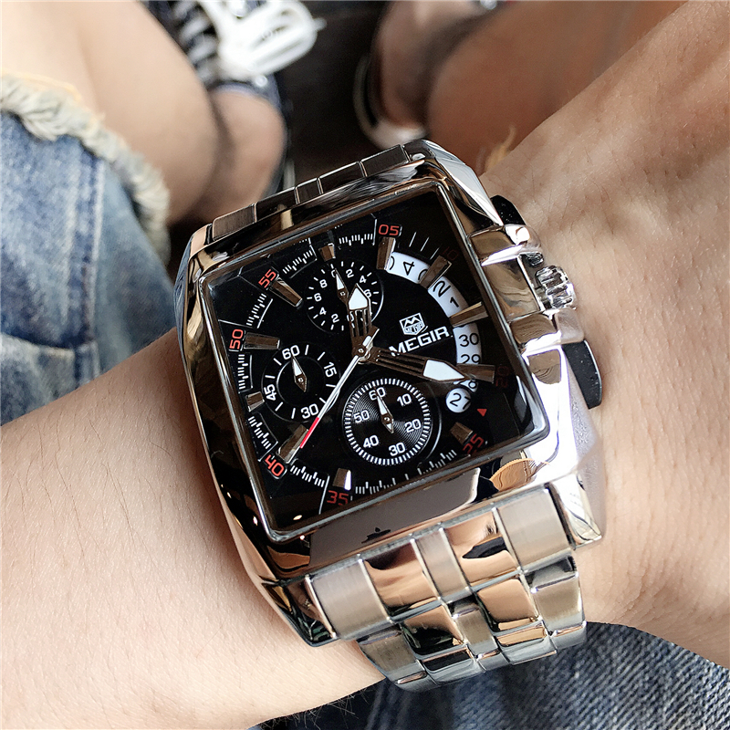 Mens Watches Top Brand Luxury Megir Chronograph & Auto Date Waterproof Stainless Steel Strap Outdoor Sport Wrist Watch Clock