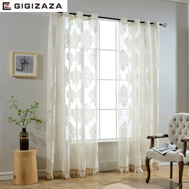 Nice GIGIZAZA Beaded Door Voile Curtain Tassel Drape Luxury For Living Room Window  Curtain Sheer Tulle White