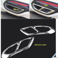 Lapetus Exterior For Ford Mondeo Fusion 2013 2016 Stainless Steel Rear Cylinder Exhaust Pipe Molding Garnish Cover Trim 2 Pcs