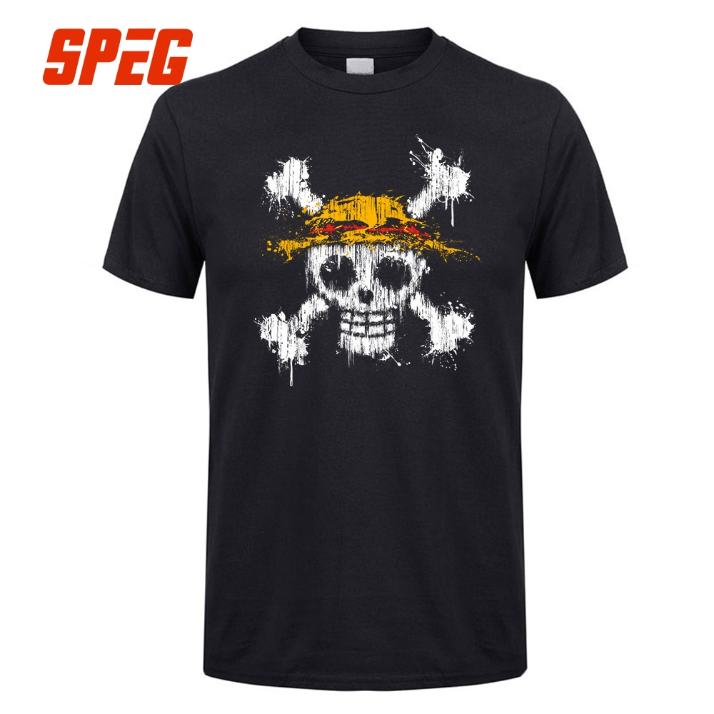 Men T Shirt One Piece Skull Straw Hat LOGO Flag Print Cotton Round Collar Anime Short Sleeve Tee Shirt Quality Male Gift Tshirt