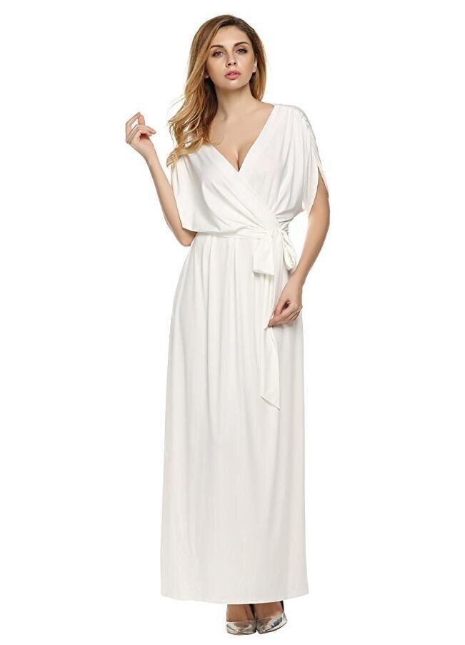 US $29.5 |2018 summer dress short sleeve beach dress women plus size white  dress elegant v neck long maxi dress party floor vestido-in Dresses from ...