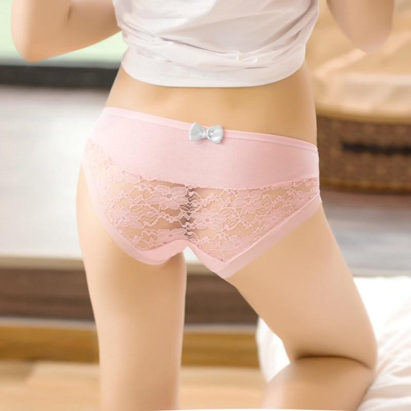 2pcs/lot 2019 Spring New Bow Tie Cute Girls Underwear Ladies Cotton Low Waist Lace Underwear Woman Panties Girl Shorts Briefs