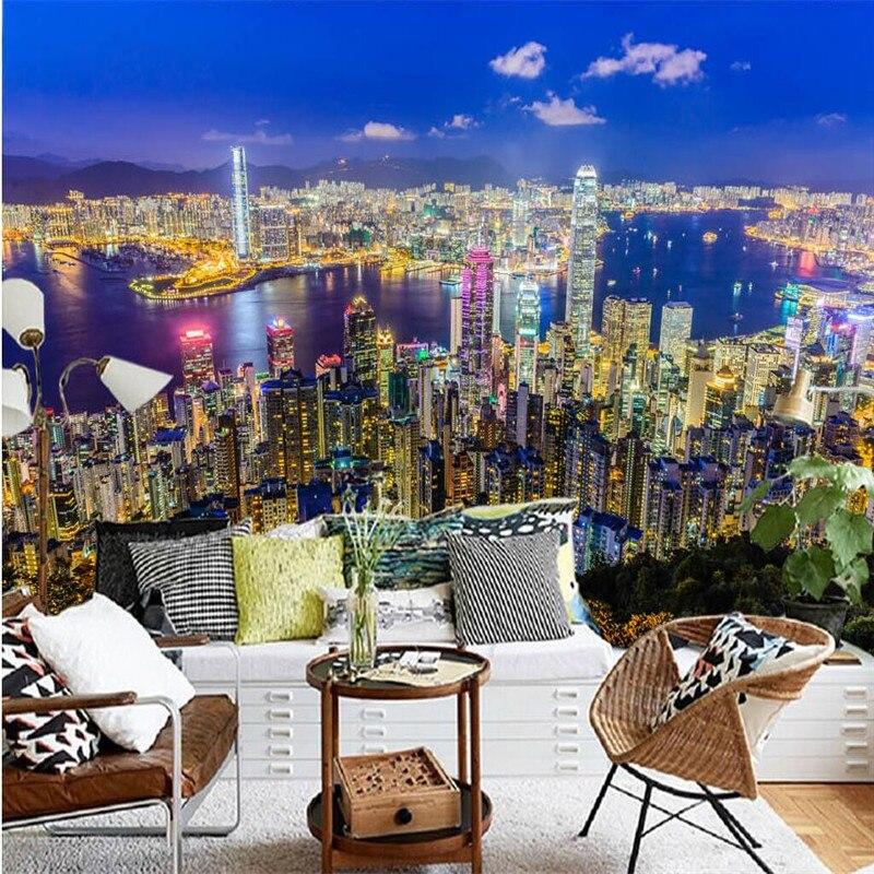 Hong kong at night 3D Mural Photo Wallpaper Decor Large Paper Wall