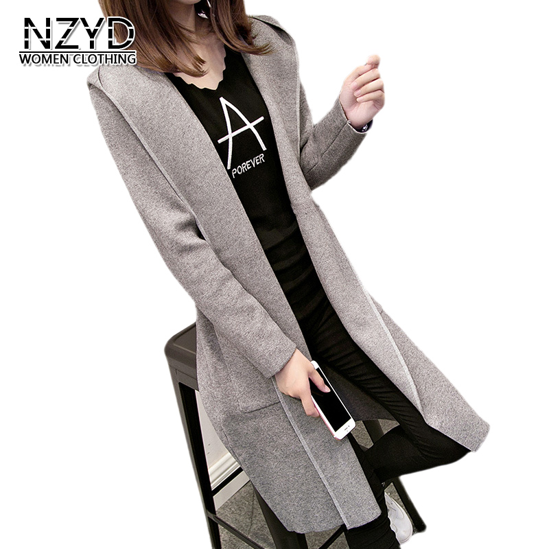 2018 Spring Autumn Women Sweater Coat Hooded Mid long Female Outerwear New Style Fashion Loose Large szie Sweater LADIES648