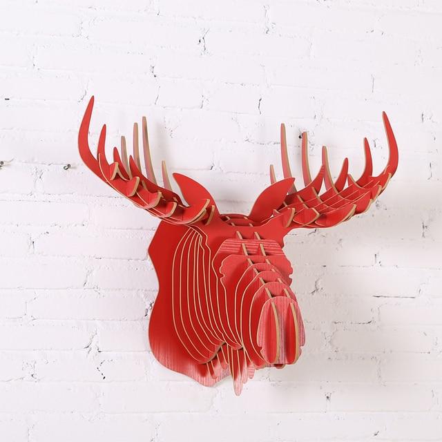 Big 52x61x37cm Wood Animal Head Wood Moose Head Furniture For Home Living  Room Wall Hanging Wall