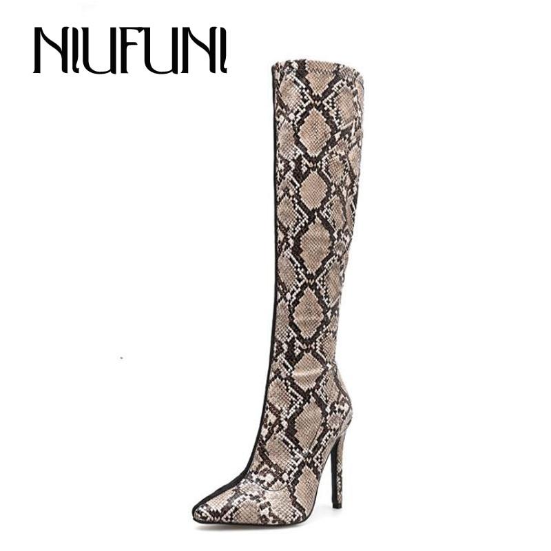 Sexy Spitz Heels Mode Black Schwarze Knie Schlange Schuhe Frühling Herbst High Korn Europäischen Hohe Damen Frauen Stiefel Zip 5S0OqYwRq