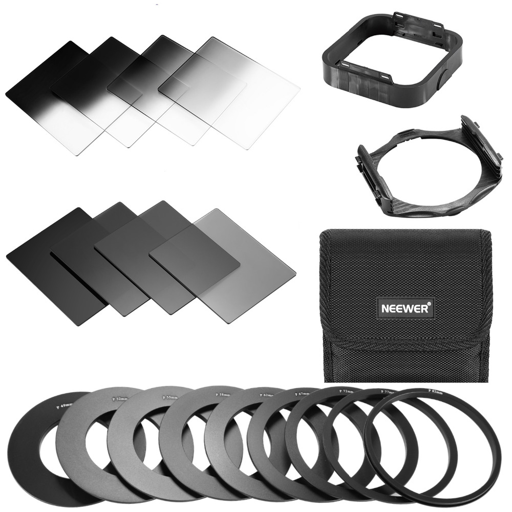 Neewer Square ND Filter and Accessory Kit for Cokin P Series ND Filters Adapter Rings Square Filter Holder Lens Hood FilterPouch 1x c interfaces adapter for nikon microscope eclipse series smz series