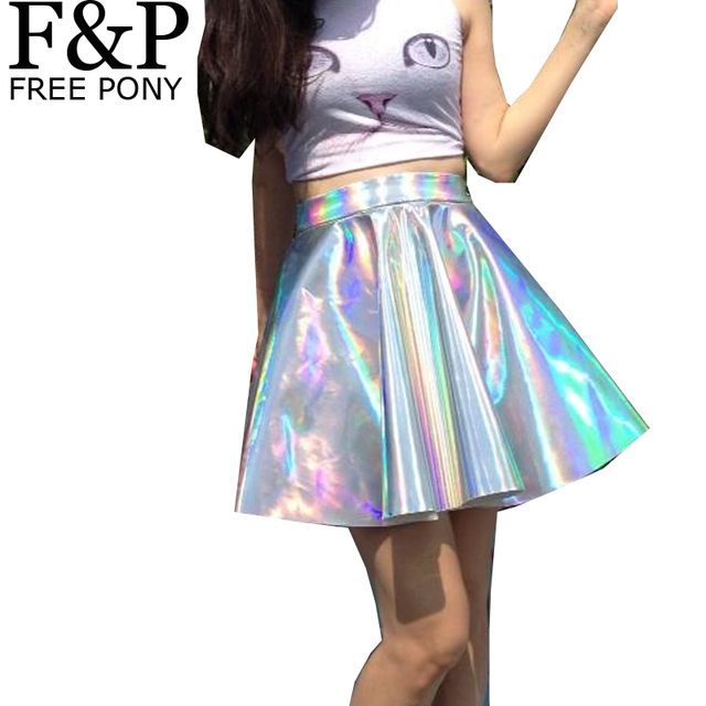 Silver Holographic Women Vinyl Skirt Festival Clothes Outfits Punk Laser  Hologram Foil Fabric Skater Skirt Circle Mini Skirt 214a923c92c3