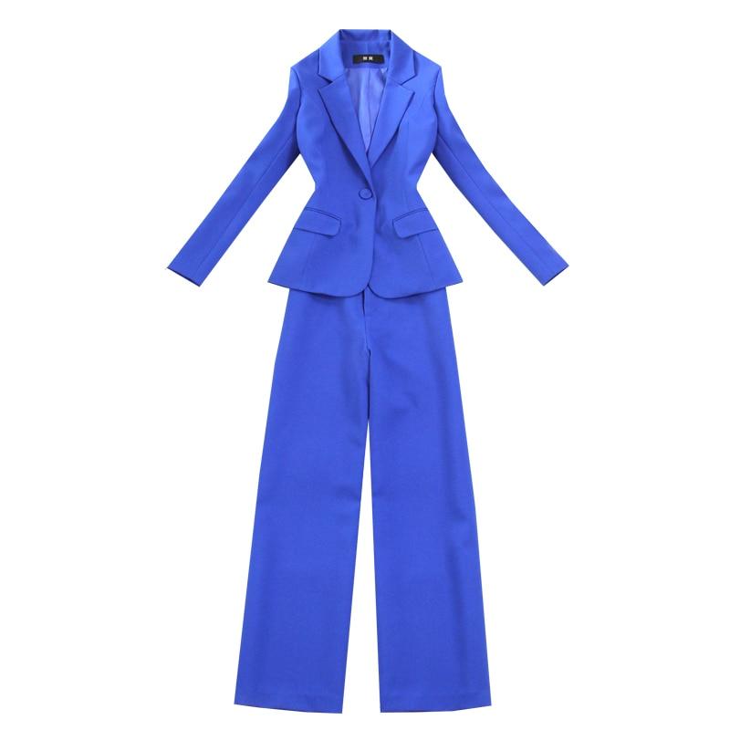 Slim blue blazer Casual single button suit and pants suit Ladies office work suit Two-piece temperament wide-leg pants