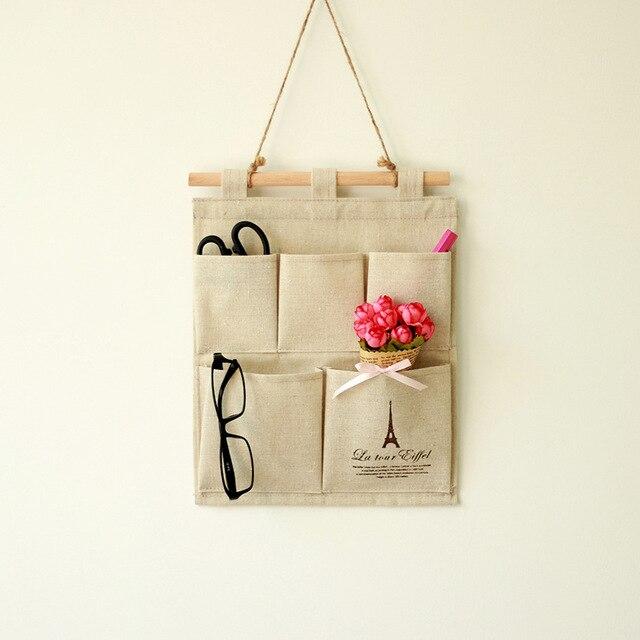 Bolsa de almacenamiento creativa de lona de algodón para oficina en casa