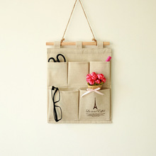 Creative Canvas Cotton Pen Glasses Wallet Scissors Letter Wall Hanging Home Office Storage Bag CU
