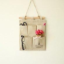 クリエイティブキャンバス綿ペンメガネ財布はさみ手紙壁掛けホームオフィス収納バッグcu