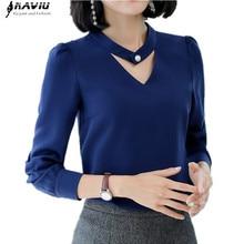 2018 nowy szczupły formalne z długim rękawem kobiety koszula OL jesień elegancki temperament V Neck szyfonowa bluzka biurowa, damska bluzka w rozmiarze plus size