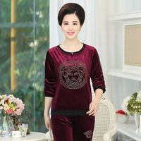 Plus Size Pleuche Fabric 2 Piece Set Women Pullover Long Sleeve Tops And Loose Pants Solid