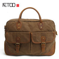 AETOO With leather handbag section briefcase men and women fashion personality business package canvas laptop bag 15 inch