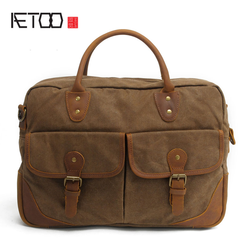 AETOO With leather handbag section briefcase men and women fashion personality business package canvas laptop bag 15 inch пиджак burton menswear london burton menswear london bu014emarye6