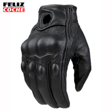 Top Guantes Fashion Glove Real Leather Full Finger Moto Men Motorcycle Gloves Protective Gears Motocross Glove A2308
