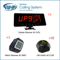 Wireless Restaurant Waiter Calling System (1 Display Receiver + 1 Watch Receiver + 20 Black Call Buttons)