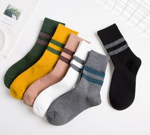 Cotton Women Spring Autumn Crew Heap Socks Color Bar Silver Onion Fashion Jacquard Breathable Sport Solid Casual