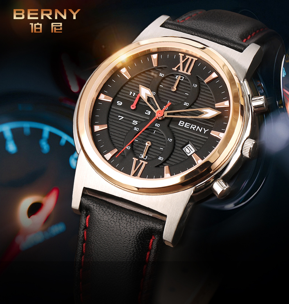 Berny Men Watch Quartz Mens Orologi Fashion Top Luxury Brand Relogio - Orologi da uomo