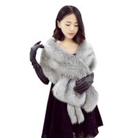 Cool Long Long Women Large Fur Shawl Thick Faux Fur Scarf Imitated Fox Fur Cape Winter