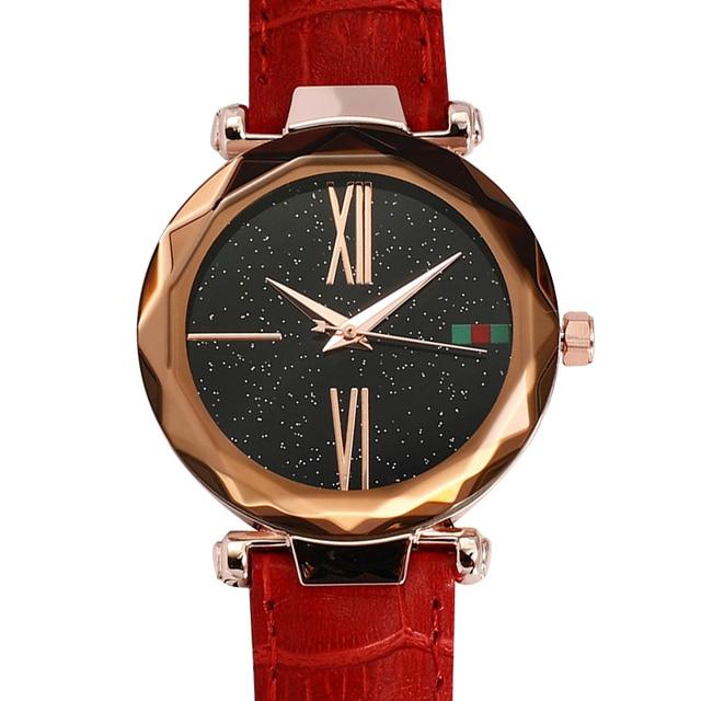 Fashion Quartz Starry Sky Red Leather Watch Women Luxury Purple Blue Black Crystal Glass Rose Gold Waterproof Elegant 2019 New