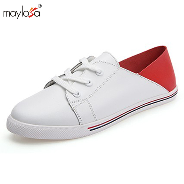 2017 Zapatos de las mujeres Planas oxfords Zapatos de cuero genuino mujeres Ocasionales Atan Para Arriba zapatos de Cuero de Las Señoras Zapatos Planos ML28