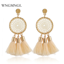 WNGMNGL New Hot sale Ethnic Bohemia Knit Mesh Round Tassel Earrings For Women Beach Fashion Jewelry Gift Statement Brincos 2018