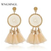 WNGMNGL New Hot sale Ethnic Bohemia Knit Mesh Round Tassel Earrings For Women Beach Fashion Jewelry Gift Statement Brincos 2018