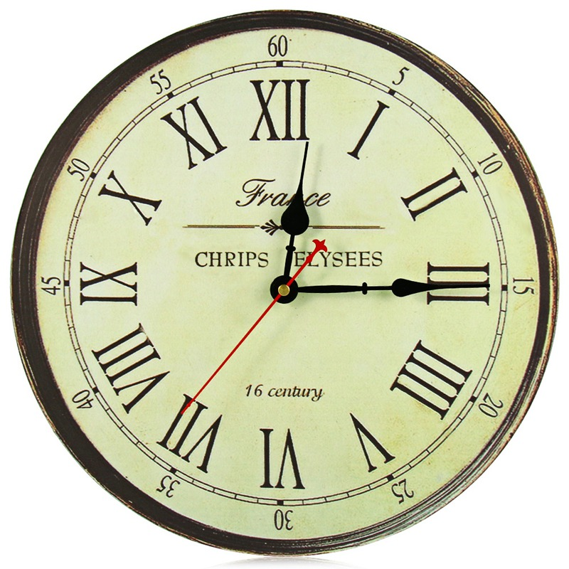 Silent Antique Wooden Wall Clock Round Roman Numerals Wall Watch