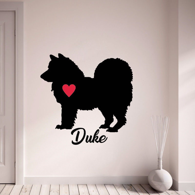 Custom name chow chow decals personalize with your dogs name wall stickers pet dog with red heart wall decor art mural l172 in wall stickers from home