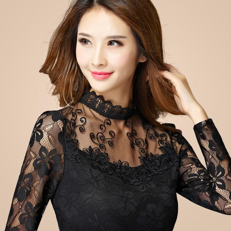Fekete-fehér Lady divatos csipke ingek S-5XL hosszú ujjú Őszi - Női ruházat