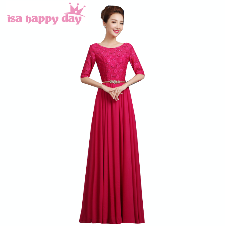 hot pink o neck bridesmaid gowns ladies dinner occasion dresses gold chiffon long dress size for married with sequin H3423
