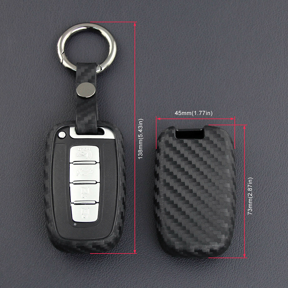 For Kia Hyundai Accessories Carbon Fiber Smart Car Key Case Fob
