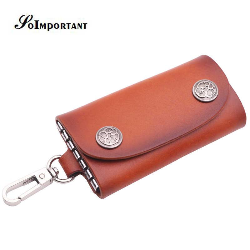 Vintage ama de llaves de cuero genuino de las mujeres carteras de llaves de la mujer llaves caso de la cubierta del organizador bolsas llavero bolsa de la señora monedero
