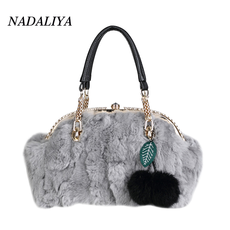 New Winter Luxury handbags Leather Shoulder Bag rabbit fur handbag Designer women messenger bags With Diamonds Ladies Bag bolsa