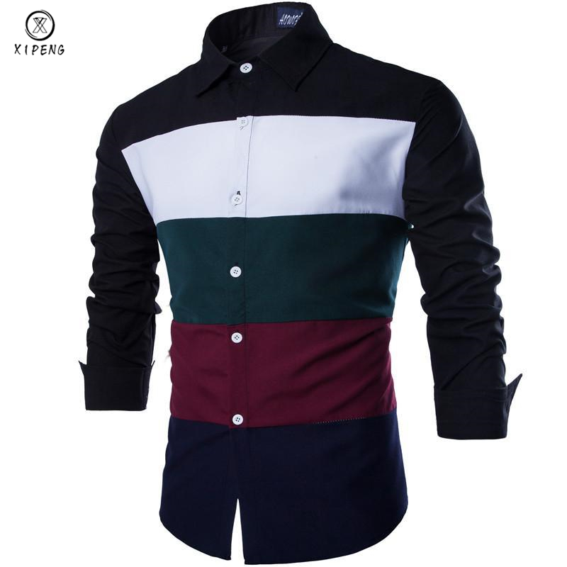2019 New Autumn Fashion Men Clothes Slim Fit Men Long Sleeve Striped Color Shirt Men Patchwork Casual Chemise Men Shirt Social