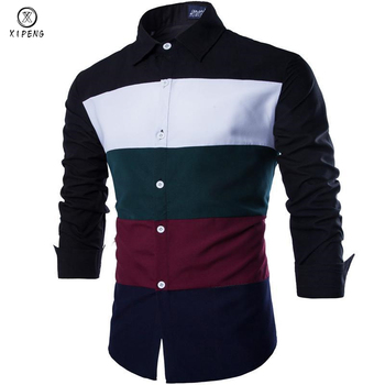 2019 New Autumn Fashion Men Clothes Slim Fit Men Long Sleeve Striped Color Shirt Men Patchwork Casual Chemise Men Shirt Social