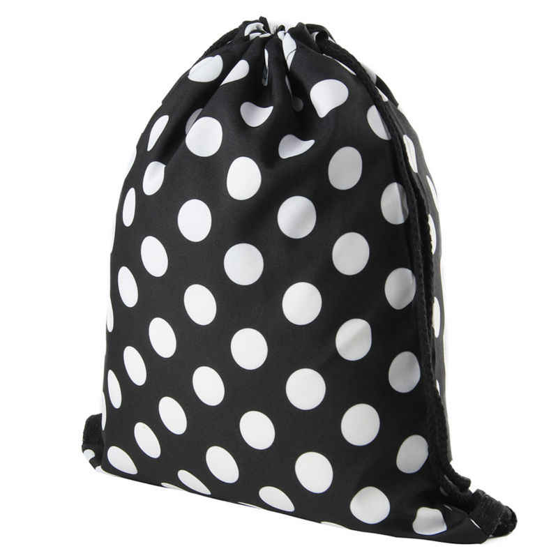 92a820358 ... Jomtokoy Black and white dots Drawstring Bag 3D Printed Cute Girls  School Drawstring Backpack