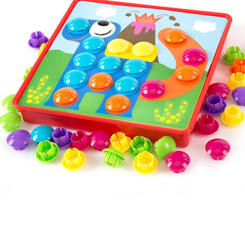 Puzzles Toy Colorful Buttons Assembling Mushrooms Nails Kit   2