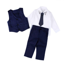 KLV Baby Boys Gentleman Wedding Suits Shirts+Waistcoat+Long Pants+Tie Clothes 1Set