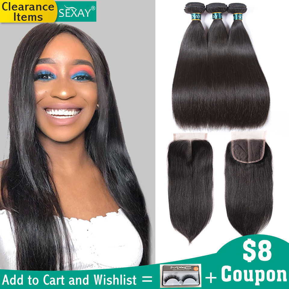 Sexay Brazilian Straight Hair Bundles With Closure Sliky Human 3 Weave
