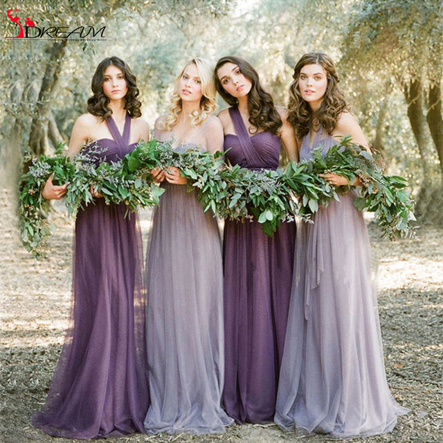 Convertible 2016 Cheap Bridesmaid Dresses 4 Style Tulle Lilac Purple Long Lavender DIY Wedding Party Dresses Under 60