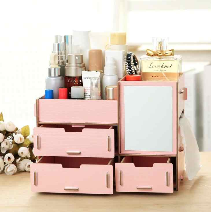 Junejour cosmetic drawer makeup organizer Makeup Storage Box Container Nail Casket Holder Desktop Sundry Storage Case Bead Tools