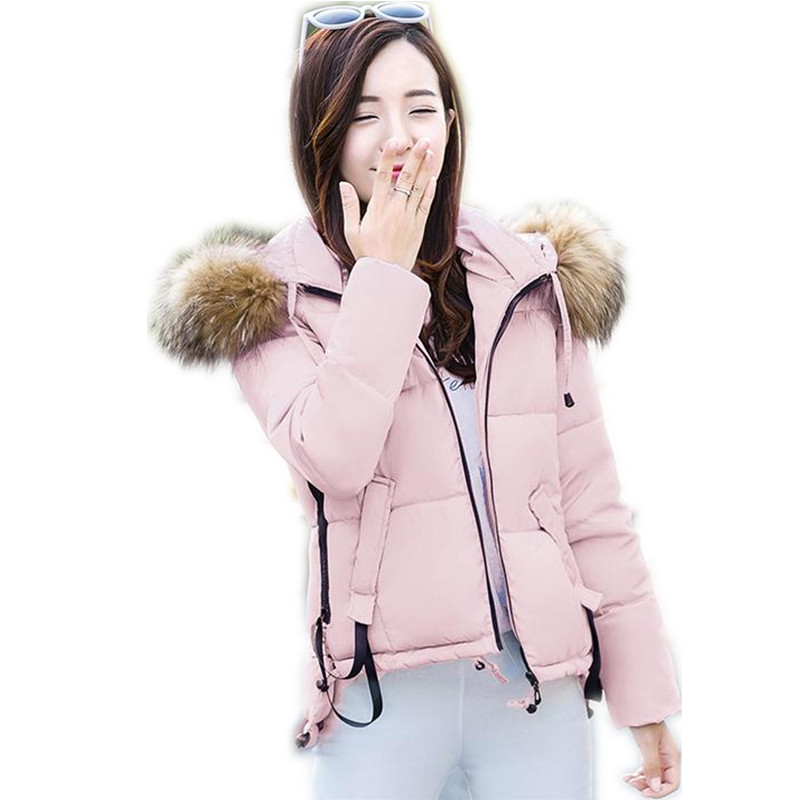 2017 Fashion Winter Women Down Cotton Short Jacket Parka Female Hooded Fur Collar Thicken Cotton Slim Outerwear Warm Parka CQ434
