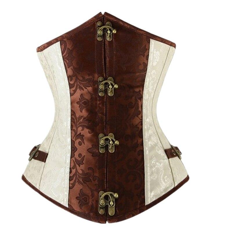 Marrón corsé gótico vasco atractivo retro Encaje acero deshuesado Brocade Steampunk corselet underbust negro s-2xl