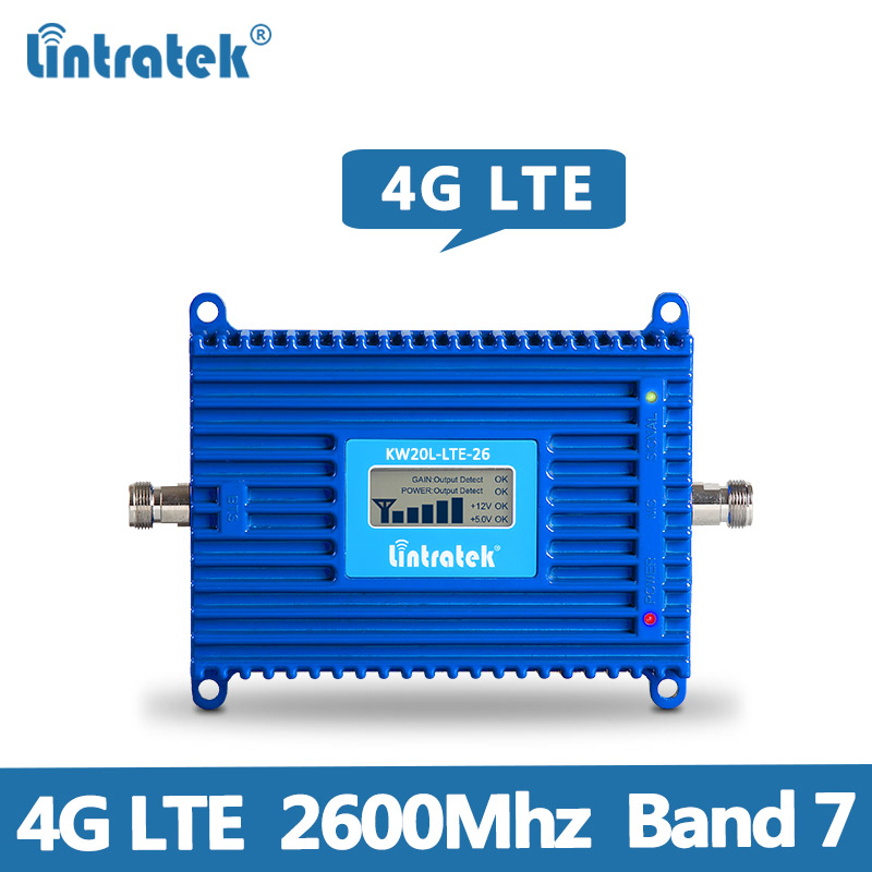 Lintratek 4G LTE Signal Repeater 70dB 4G LTE 2600Mhz Mobile Signal Booster  2600 Band 7 cellphone signal amplifier AGC MGC @7 6-in Signal Boosters from