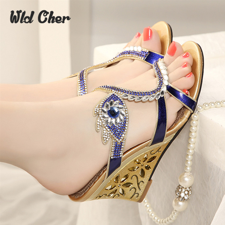ФОТО Genuine leather high-heeled wedges diamond female sandals 2017 spring and summer rhinestone women's sandals sexy open toe