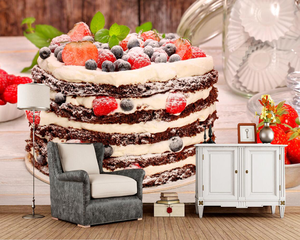 papel de parede,Sweet Cakes Berry Strawberry Food photo Torte wallpaper,restaurant living room bar TV sofa wall kitchen 3d mural 3d mural papel de parede purple romantic flower mural restaurant living room study sofa tv wall bedroom 3d purple wallpaper