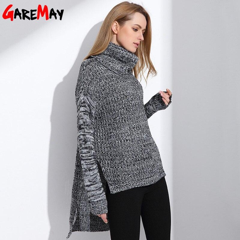 Для женщин s Свитер с воротником Зимние теплые трикотаж негабаритных свитер  для женские модные топы Длинная одежда женские джемперы GAREMAY f9d47c4a925